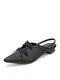 Women Bowknot Decor Comfy Microfiber Low Block Heeled Slingback Sandals - Black