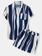 Mens Holiday Striped Chest Pocket Lapel Short Sleeve Drawstring Shorts Two Pieces Outfits - Blue
