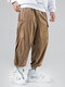 Mens Solid Corduroy Drawstring Cuff Cargo Pants With Pockets - Khaki