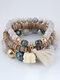 Vintage Multicolor Beads Multi-layer Bracelet Temperament Elephant Pendant Bracelet - White