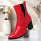 Plus Size Women Casual Solid Color Simple Pointed Toe Zipper Chunky Heel Chelsea Boots - Red