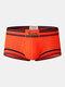 Mens Contrasting Colors U Convex Breathable Boxer Briefs - Orange