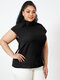 Solid Color Stand Collar Short Sleeve Plus Size Button Blouse for Women - Black