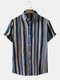 Mens Holiday Stripe Button Up Lapel Short Sleeve Shirts - Gray