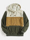 Mens Color Bolck Stitching Patchwork Drawstring Hoodies - Green