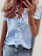 Stringy Selvedge Solid Color Print Short Sleeve Blouse - #03