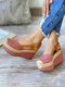 Plus Size Closed Toe Slingback Buckle Espadrilles Wedges Sandals For Women - Pink