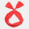 Cute Bow Hairband Straight Wire Hairband White Dot Stripe Fabric Cross Headband - #01