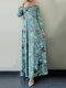 Leaves Print O-neck Long Sleeve Casual Muslim Dress for Women - Green