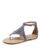 Large Size Women Woven Hollow Out Hand-stitching Summer Holiday Flat Sandals - Gray