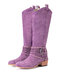 Women Pointed Toe Chunky Heel Hollow Out Quilting Retro Elegant Mid-Calf Cowboy Boots - Purple