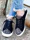 Women Casual Lace-up Leopard Patchwork Suede Antiskid Skate Shoes - Black