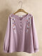 Ethnic Embroidery V-neck Long Sleeve Plus Size Blouse - Pink
