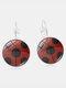 Vintage Seven-stars Ladybug Pattern Drop-shape Alloy Glass Sheet Earrings - #04