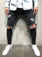 Men's Classic All-Match Trendy Knee-Hole Jeans With Small Feet - Black