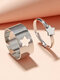 2 Pcs Trendy Brief Five-pointed Star Hollow Out Opening Adjustable Alloy Rings - Silver