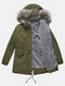 Fur Collar Drawstring Button Plus Size Winter Coat with Pockets - Army Green