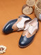 Women Retro Contrast Lace-up Almond Toe Flat Loafers Shoes - Blue