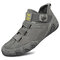 Men Pigskin Leather Splicing Mesh Fabric Comfy Breathable Elastic Hook Loop Casual Driving Shoes - Gray