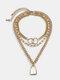 3 Pcs Vintage Alloy Necklace Set Double Ring Geometric Lock-Shaped Pendant Women Necklace - Gold