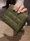 Women PU Leather Quilted Bag Money Clips Multi-card Slots Coin Purse Wallet - Green