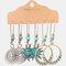 Bohemian Geometric Hollow Water Drop Pendant Earrings Vintage Turquoise Sun Flower Earring Set - 4