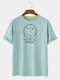 Mens Smile Face Checkered Print Loose Cotton Short Sleeve T-Shirts - Green