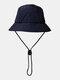 ユニセックスレトロソリッドヒップホップサンシェード調節可能な巾着バケットハット - ネービー