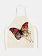 تنظيف بنمط الفراشة Colorful مآزر الطبخ المنزلي مريلة المطبخ للطبخ ارتداء مرايل الكبار من القطن والكتان - رقم 24