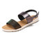 Women Two Tone Double Band Comfy Wearable Beach Casual Slip On Sandals - Black