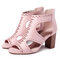 Hollow Out Solid Color Chunky Heel Pumps - Pink
