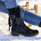 Large Size Women Winter Snow Strappy Block Heel Mid Calf Boots - Black 1#