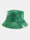 Women & Men Corduroy Multicolor Tie Dye Casual Soft Outdoor All-match Bucket Hat - #14