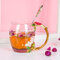 Эмалированная чашка Подарочная чашка Цветочная чашка Стеклянная эмалированная чайная кружка Кофейная чашка с ложкой - #1