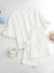 Solid Color Ruffle O-Neck Suit Women Casual Set - White