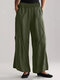 Solid Color Pockets Elastic Waist Casual Pants for Women - Green