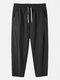 Mens 100% Cotton Breathable Drawstring Elastic Waist Sport Jogger Pants - Black