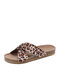 Plus Size Women Knotted Leopard Paisley Cloth Flat Shoes Summer Beach Holiday Cork slippers - Brown Paisley
