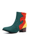 Women Casual Suede Color Block Side Zipper Warm Ankle Boots - Green