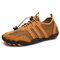 Men Mesh Non Slip Quick Drying Elastic Lace Outdoor Casual Water Shoes - Brown