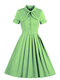 Solid Color Stand Collar Bowknot Short Sleeve Plus Size Dress for Women - Green