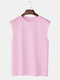 Mens 100% Cotton Breathable Solid Color Casual Tank Tops - Pink