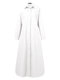 Solid Color Button Long Sleeve Casual Dress for Women - White