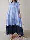 Solid Color Block Short Sleeve Maxi Dress With Pocket - Light Blue
