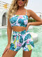 Women Tropical Plant Print Spaghetti Straps Bikinis Swimsuit With Belted Shorts - Green
