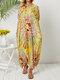 Bohemian Print Loose Plus Size Holiday Summer Dress - Yellow