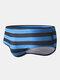メンズセクシービッグストライプクイックドライドローストリングビーチスイムウェアブリーフ - 青い