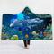 150x200cm Ocean Scenery Series Blanket With Hood Warm Wearable Plush Mat