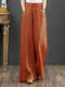 Casual Loose Drawstring Plus Size Wide Leg Pants - Orange