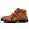 メンズハンドステッチフックループカジュアル滑り止めブーツシューズ - 褐色